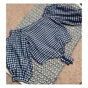 Blue & white checkered / plaid off shoulder top